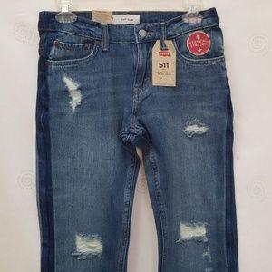 Levi/'s Boys 511 Slim Stretch Jeans Medium Vintage Distressed Wash